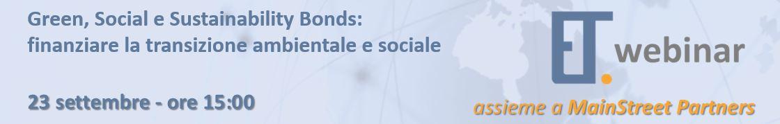 Partecipa al webinar di MainStreet su Green, social e sustainability bonds